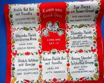Vintage German Kitchen Towel With Menu, Red