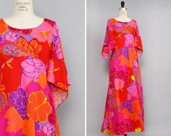 Flutter Sleeve Dress XS/S • Vintage Hawaiian Dress • 60s Maxi Dress • Tropical Dress • Neon Dress • Floral Dress | D634