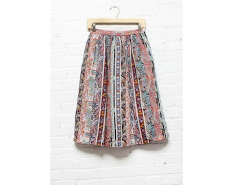 Paisley Print Boho Midi Skirt XS/S • Colorful Vintage Full Skirt w/ Pockets X-Small/Small | SK127