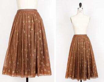 50s Chiffon Skirt S • Brown Midi Skirt • High Waisted Full Skirt • Party Skirt with Painted Gold Medallions     SK314