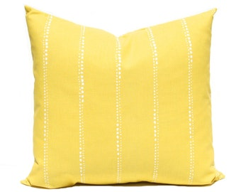 Yellow Pillow Cover - One Decorative Pillow Cover - Throw Pillow Cover - Yellow and White - Lines Design - Bright Lemon Yellow Pillow Cover
