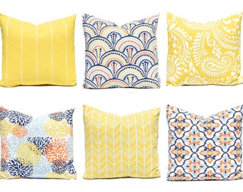 Pillow Covers - Yellow Pillow Cover - Orange, Aqua and Yellow - Floral Pillow Cover - Yellow Cushion Cover - Sofa Pillow Covers - Decorative