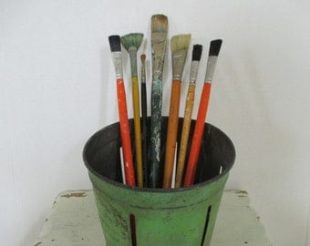 Vintage Artist Paint Brushes - Studio Decor - Wood and Metal - 7 in Lot
