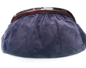 Vintage 1980's/Navy Suede Clutch Lucite Frame/Navy Blue Suede Clutch/Navy Clutch/Blue Clutch/Italian Navy Blue Clutch/Made in Italy