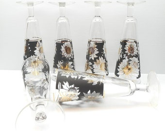 Vintage Pilsner Glasses , Black with Gold Floral Tall Glasses