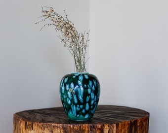 1970s Speckle Painted Blue Teal and Turquoise Small Vase