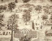 """Very Rare Warm Grey or Sepia Grandma Moses """"Williamstown Toile"""" Unused Vintage Barkcloth - 47 by 35  Inches"""