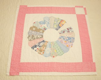Beautiful Dresden Plate Vintage Quilt Piece for Pillow - 19 by 19 Inches