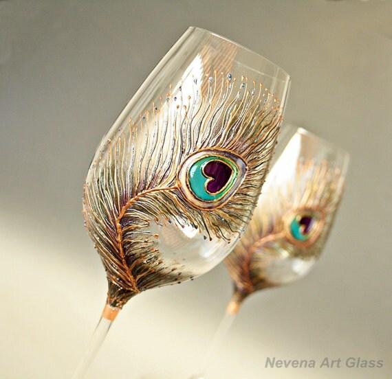 Peacock Wine Glasses, Hand Painted , Wedding Glasses, Toasting Glasses, Anniversary Glasses, Wedding Gift, Set of 2