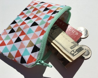 Change Purse Coin Purse Change Wallet Zipper Bag Triangles