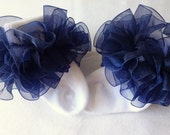 Navy Blue Sheer Organza Ruffled Ribbon Socks