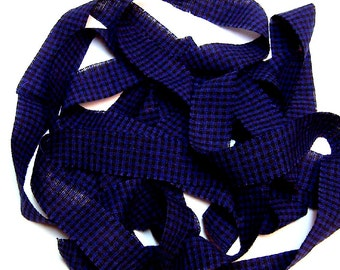 1 yard Homespun Cotton Fabric Ribbon Blue Black Check