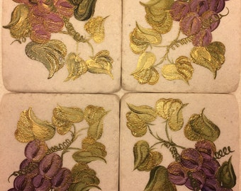 Hand Painted Sandstone Coasters - Grapes 'n Gold  Set of 4