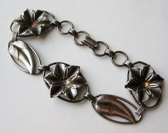 Vintage 40s Hawaiian Sterling Silver Art Deco Tropical Flowers Panel Link Bracelet