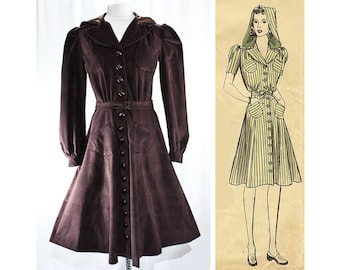 Size 14 1930s Coat with Hood - Brown Velveteen Hooded Outerwear - 30s Reproduction - Hollywood Style Starlet Inspired - Bust 40 - 47021