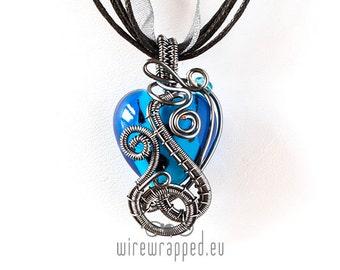 OOAK Blue heart wire wrapped pendant