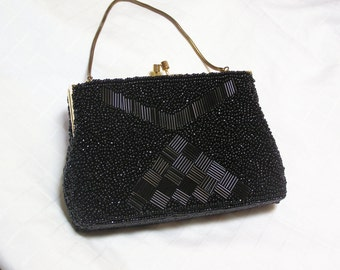 Black beaded evening bag by George