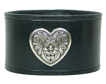 "BLACK Leather Wristband, Heart Medallion, 1 1/2"" Custom Mens Leather Bracelet, Leather Cuff Bracelets for Women, Wrist Cuff, Wrist Band"