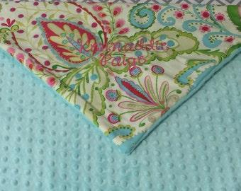 KUMARI GARDENS & aqua MINKY dot baby Blanket with Free Embroidery