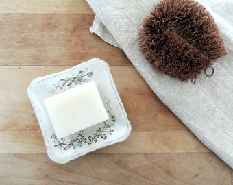 SQUARE white ironstone Dianthus soap dish by Wedgwood and Co. blue brown transfer ware