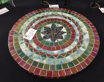 "Large 15 1/2"" Stained Glass & Glass Tile Lazy Susan with Ball Bearings"