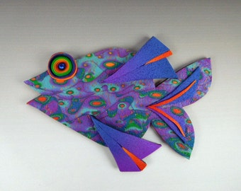 3D Large Fish Magnet or Wall Art in Green, Purple, Blue and Red Polymer Clay