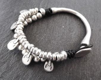 Ethnic Beaded Pinced Charm Bar Statement Bracelet - Authentic Turkish Style