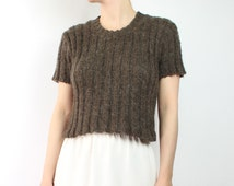 VINTAGE Cropped Sweater 1990s Fuzzy Mohair Brown