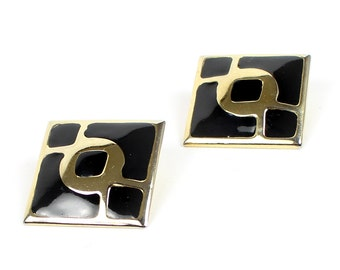 VINTAGE 1980s Big Earrings Black Gold Square Pierced
