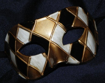 Off White, Gold and Black Harlequin Mask