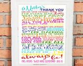 TEACHER GIFT - Teacher Thank You - Teacher Appreciation - A Mother's Thank You to Teacher - Personalize with Teacher's Name - Classroom Art