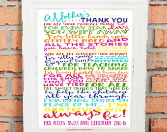 TEACHER GIFT - Teacher Thank You - Teacher Appreciation - A Mother's Thank You to Teacher - Personalize with Teacher's Name - Classroom Art