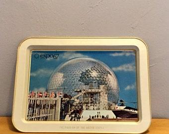 Expo 67, Pavilion of United States,Worlds Fair Montreal, Souvenir Expo 67 tray, La Pavilleon Des Etats Unis