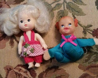 Vintage Lot of 2 Dolls Teeny Tiny Tumbles Surprise and Blonde Doll 1990s
