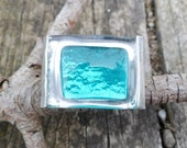 Turquoise Fused Glass Ring. Adjustable Ring. Handmade Fused Glass Ring. Sterling Silver And Glass Ring. Turquoise Glass Ring.