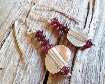Garnet Earrings. Stering Silver Earrings. Garnet And Sterling Silver Earrings. Handmade Earrings. Mineral Earrings. Ethnic Earrings.