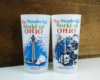 Wonderful World of Ohio Glasses, Set of 2 frosted drinking glasses
