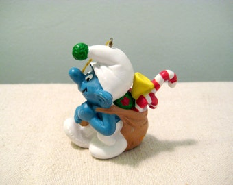 Vintage Smurf Christmas Ornament - Bag of Presents