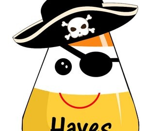Halloween Candy Corn Pirate with hat and eye patch iron on at Giggles to Go