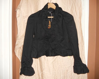 Black ruffled bolero, hand embroidered Steampunk spider, size s, ls