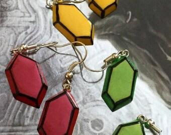 Rupee Earrings (Post or Dangle) - Choose Your Color - Legend of Zelda - Nintendo