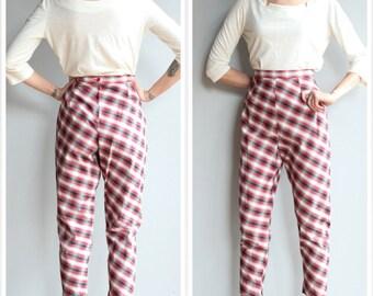 1950s Pants // Phil Rose Plaid Pants // vintage 50s cigarette pants