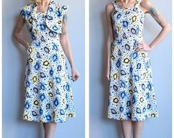 1940s Dress // Brentwood Falling Leaves Dress // vintage 40s dress