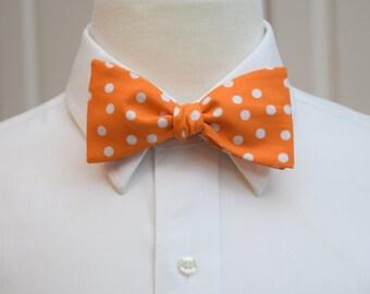 Men's Bow Tie, orange white polka dot bow tie, wedding bow tie, groom bow tie, groomsmen gift, orange bow tie, spotted bow tie, self tie