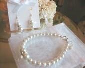Pearl and Swarovski Rhinestone Bracelet and Earring Jewelry Set - Brides or Bridesmaid Jewelry Set
