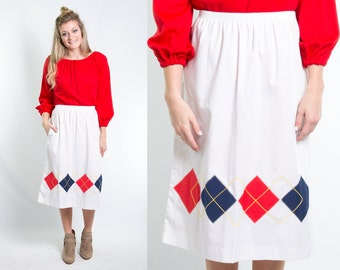 Vintage 1970s White Navy Red Yellow Argyle Preppy Skirt * Pocket and Elastic Waist * Size Medium Large * FREE SHIPPING