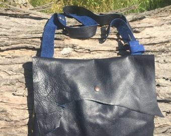 Deep Blue Whole Leather Bag