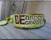 Bracelet Inspirational Bracelet Be Happy Be Grateful  Apple Green Ceramic Beads