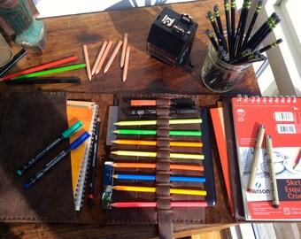 Custom Artist Portfolio, Leather Sketchpad, Leather Professional Artist Portfolio, Handmade Personalized Art Portfolio Case Made by Hand