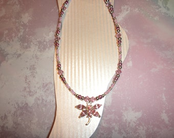 Pink Crystal And Silver Dragonfly Ankle Bracelet